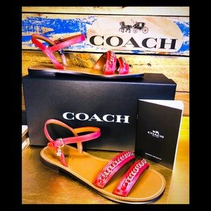 🆕Brand new Coach red chain strap sandal sz7🆕